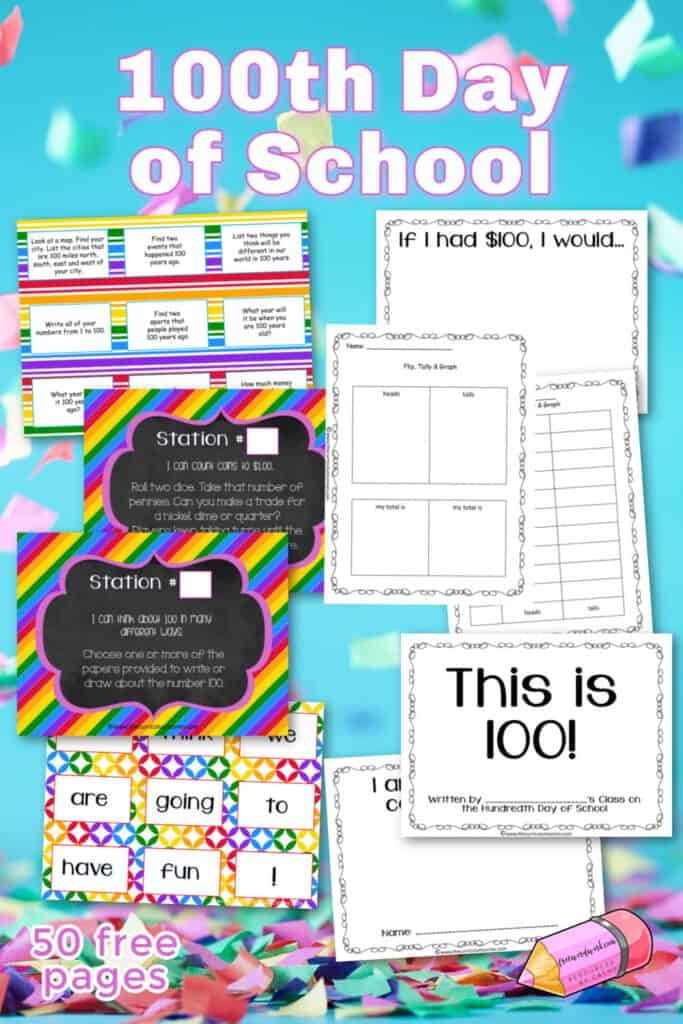 These 100th day of school activities will help you plan your 100s day celebration in the classroom.