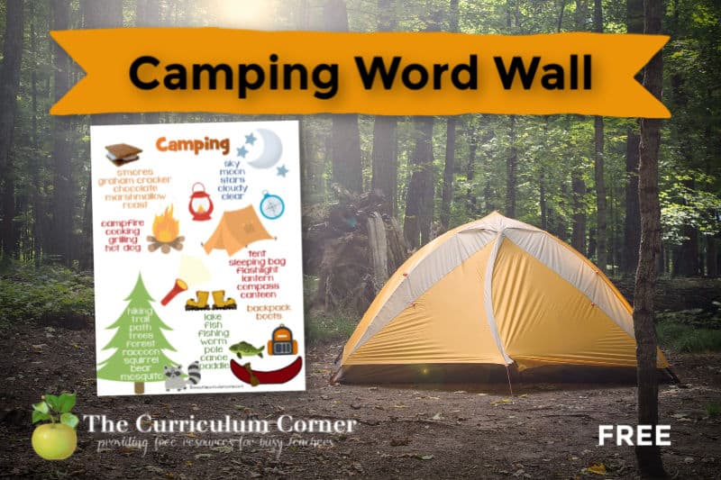 Our free camping word wall can be a writing workshop resource in your camping themed classroom.