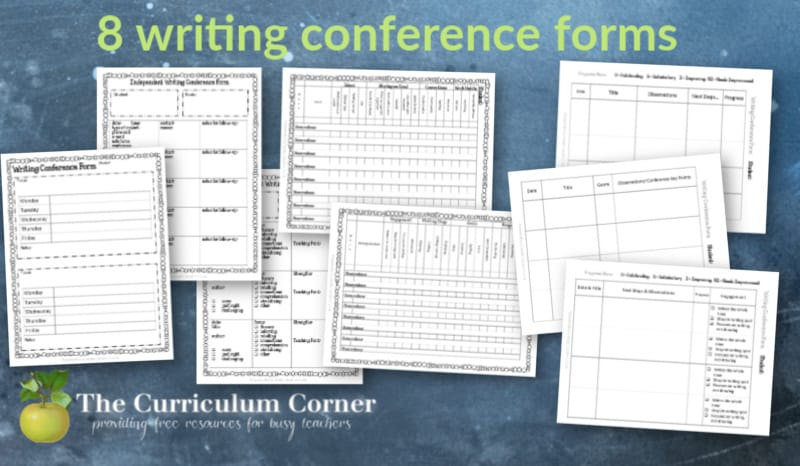 These 8 free writing conference forms are a part of The Curriculum Corner's writing management binder.