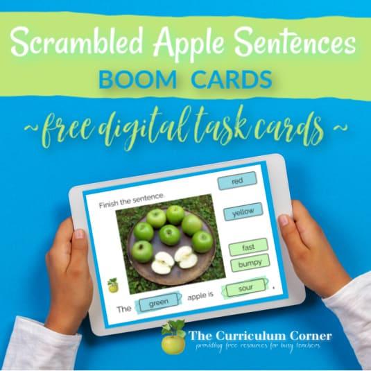 Apple Sentence Boom Cards