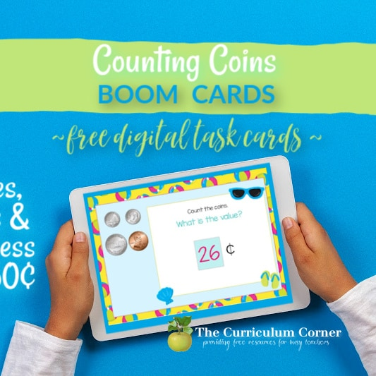 Beach Counting Coins Boom Cards #1