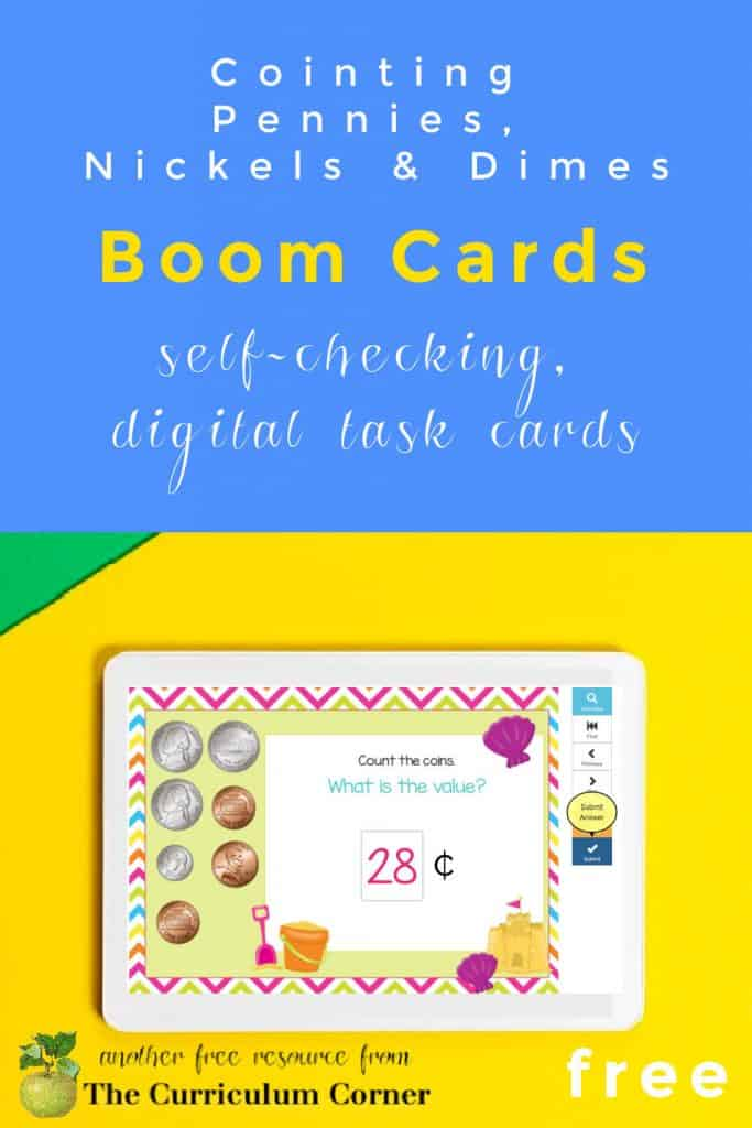 These Beach Themed Counting Coins Boom Cards are a self checking digital task card resource for children learning to count pennies, nickels and dimes.