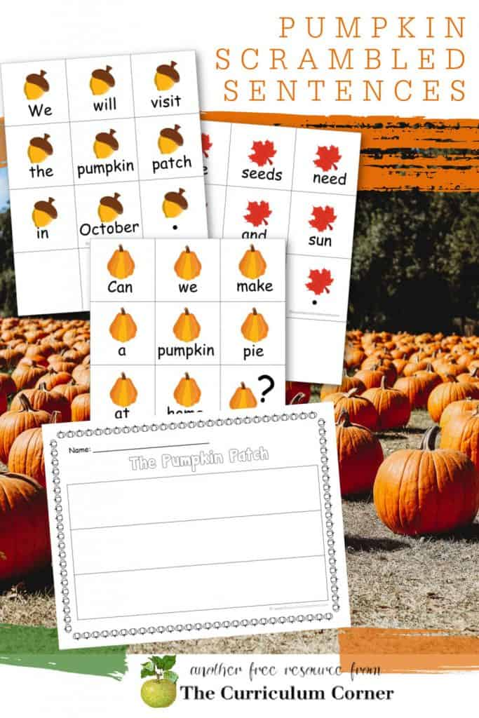 You can download these free Pumpkin Scrambled Sentences for an engaging literacy center this fall. Free from The Curriculum Corner.
