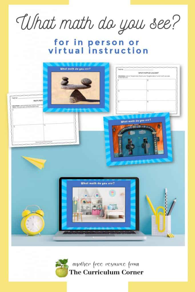 This What Math Do You See? activity will help your students explore math in the world around them. Free digital or in person activity from The Curriculum Corner.