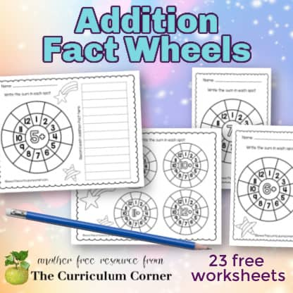 Addition Math Fact Wheels