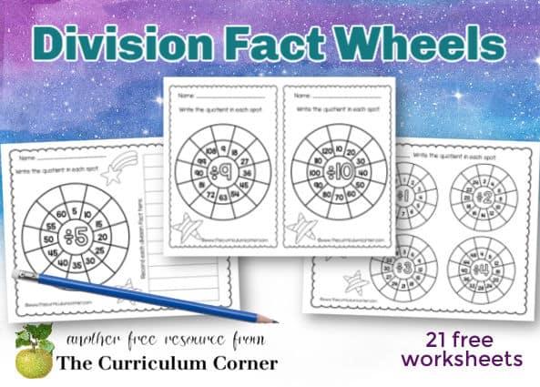 Division Math Fact Wheels - The Curriculum Corner 123
