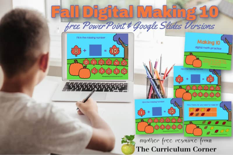 This fall making 10 digital game will give your students practice with how to make 10.
