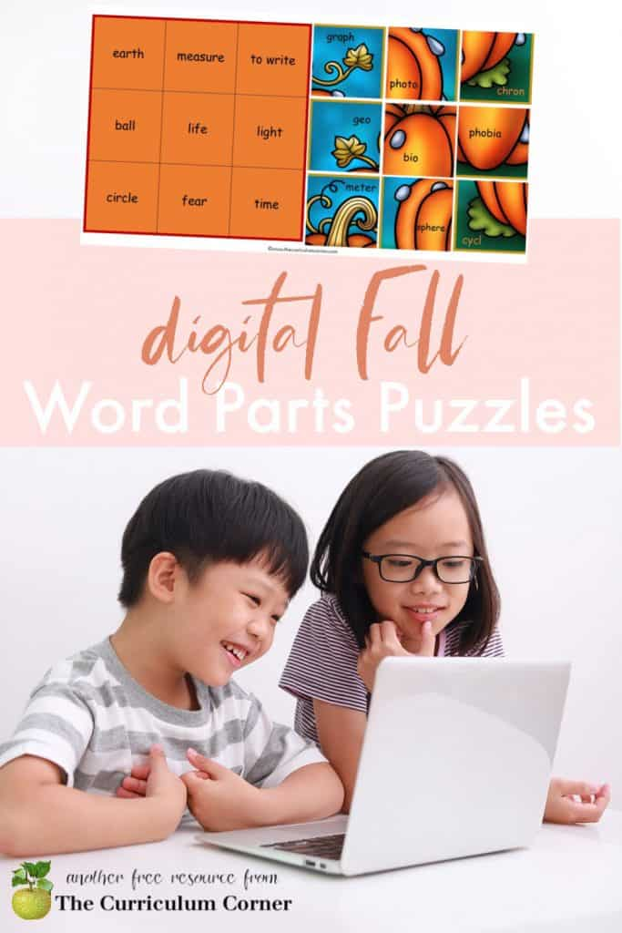Download these fall word parts puzzles as a way for children to practice in a digital format.