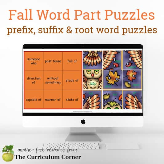 Fall Word Parts Puzzles