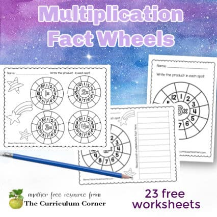 Multiplication Math Fact Wheels