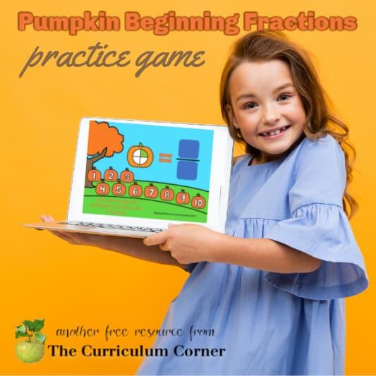 Pumpkin Beginning Fractions Practice