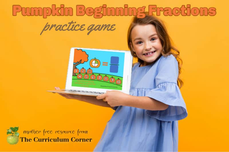 This free pumpkin beginning fraction practice game for PowerPoint and Google Slides will be a good starting point for children starting to learn about fractions.
