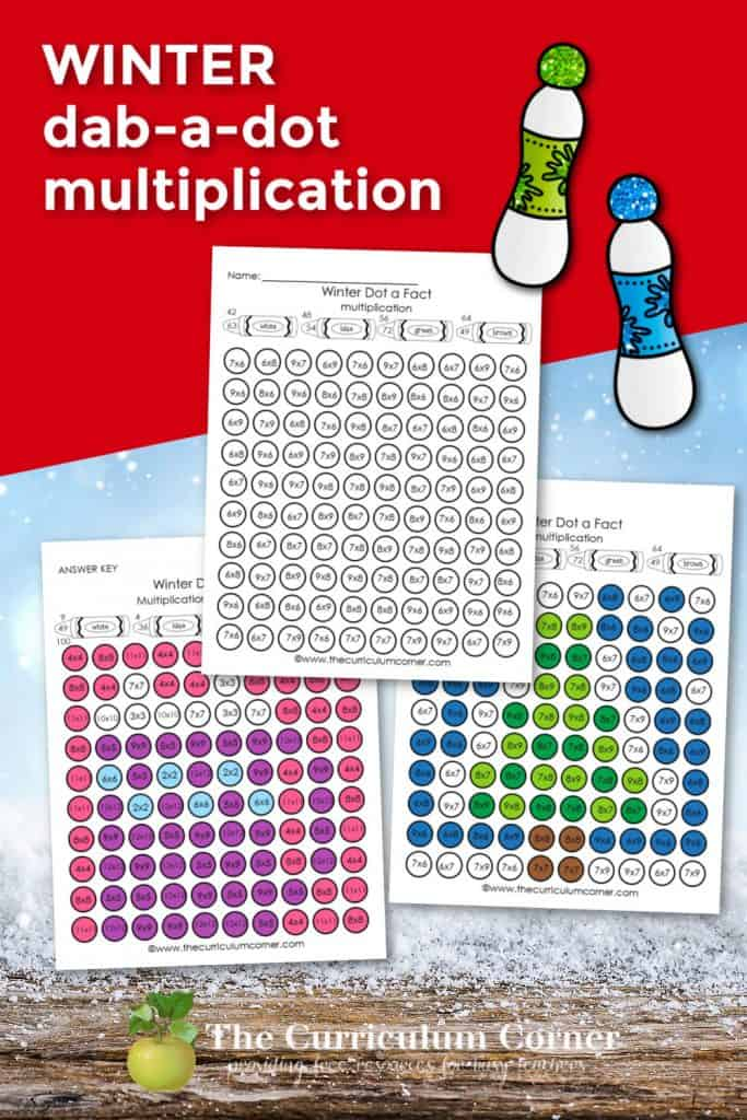 This winter dab a dot multiplication facts are designed to be used with BINGO daubers for fun math fact practice.