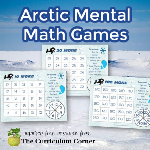 """10 More"" Mental Math Arctic Games"