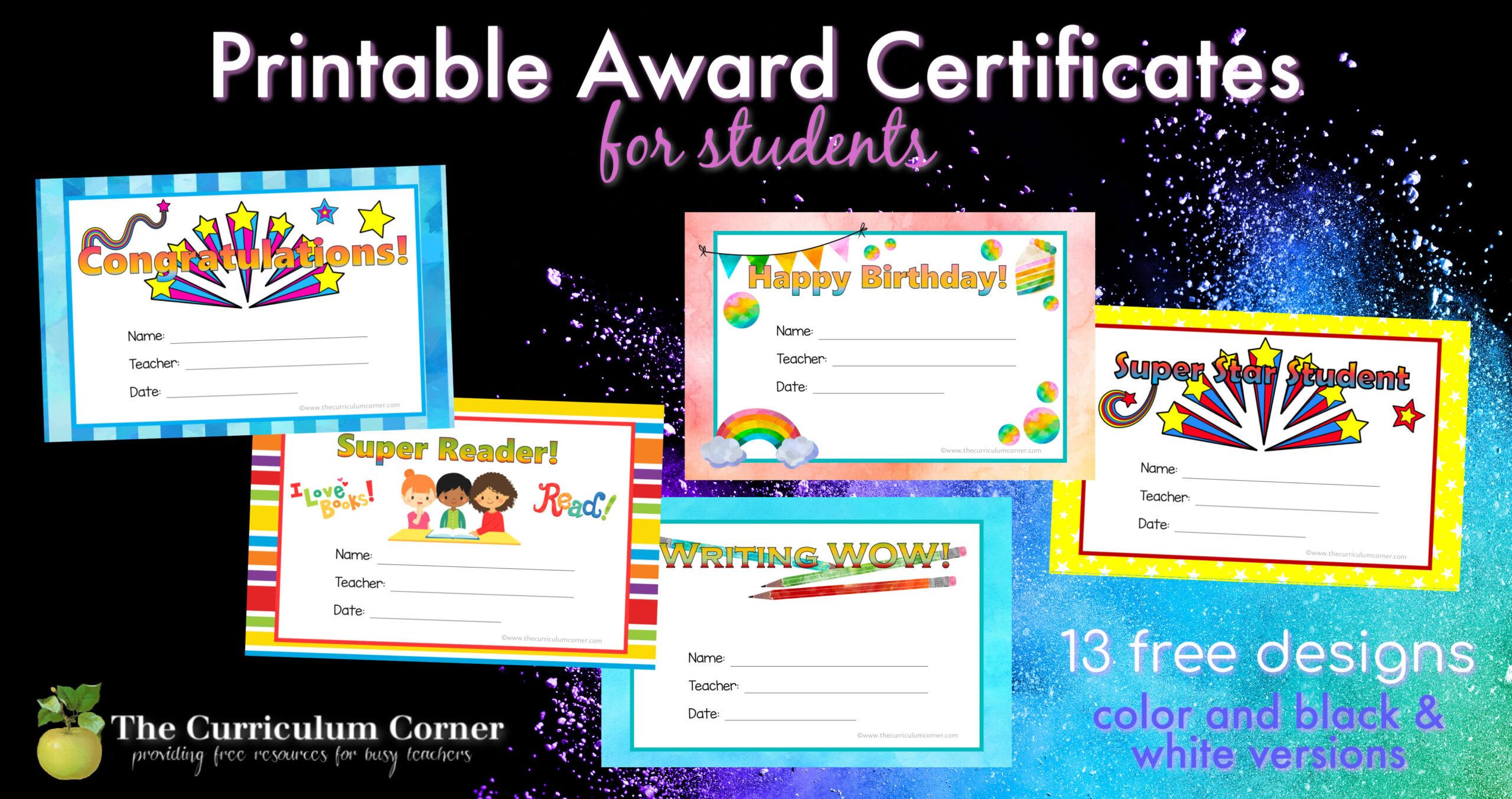 Printable Award Certificates The Curriculum Corner 123