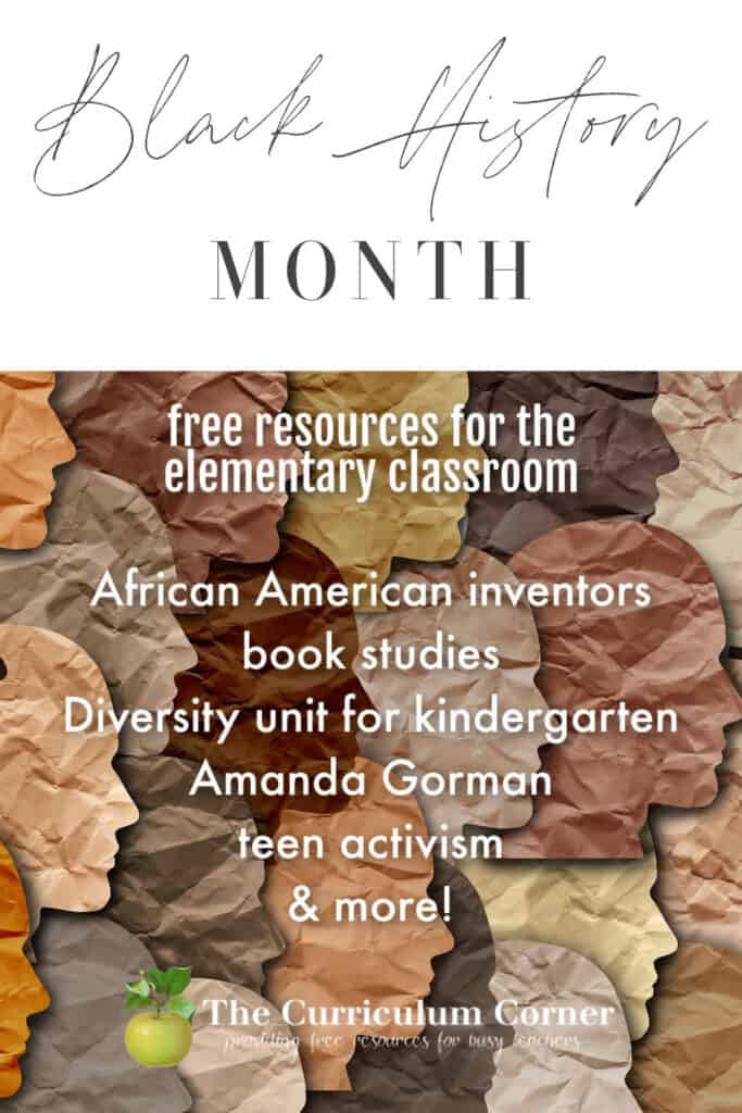 Add these elementary classroom resources to your black history month collection. Free from The Curriculum Corner.