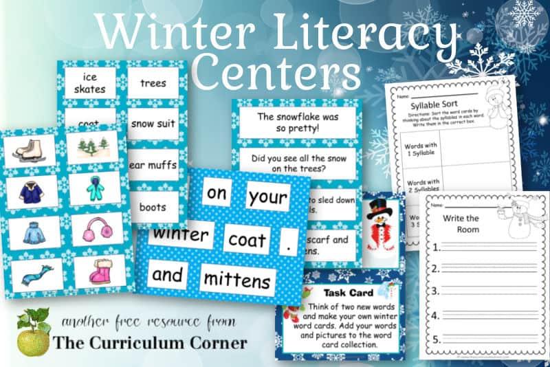Download this free winter literacy center set to help create your winter centers. Free download from The Curriculum Corner.
