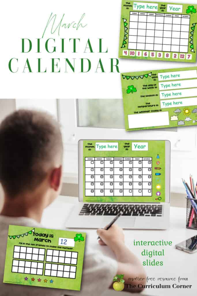 This March digital calendar will be a great resource to add to your distance learning collection (or even you in-person learning.)