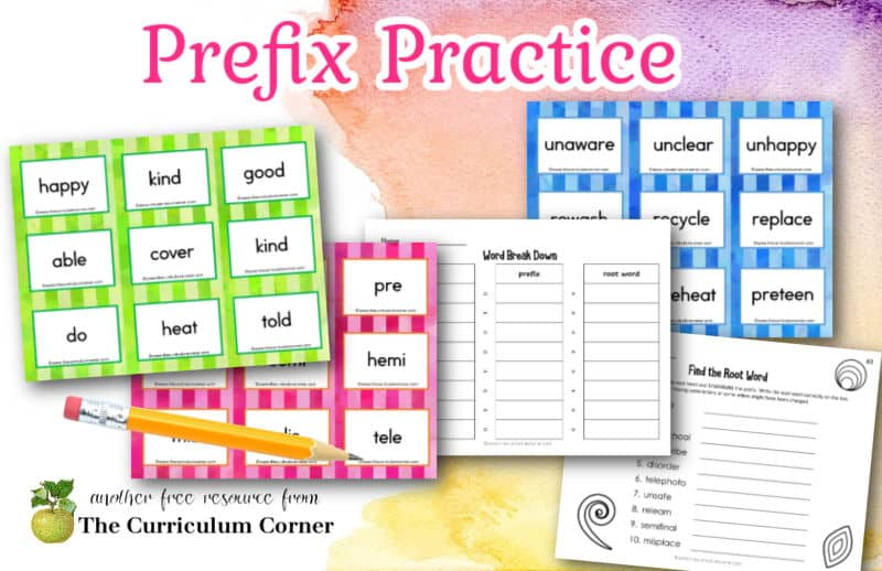 Add this prefix practice for word work collection to your word parts focus in your primary classroom.