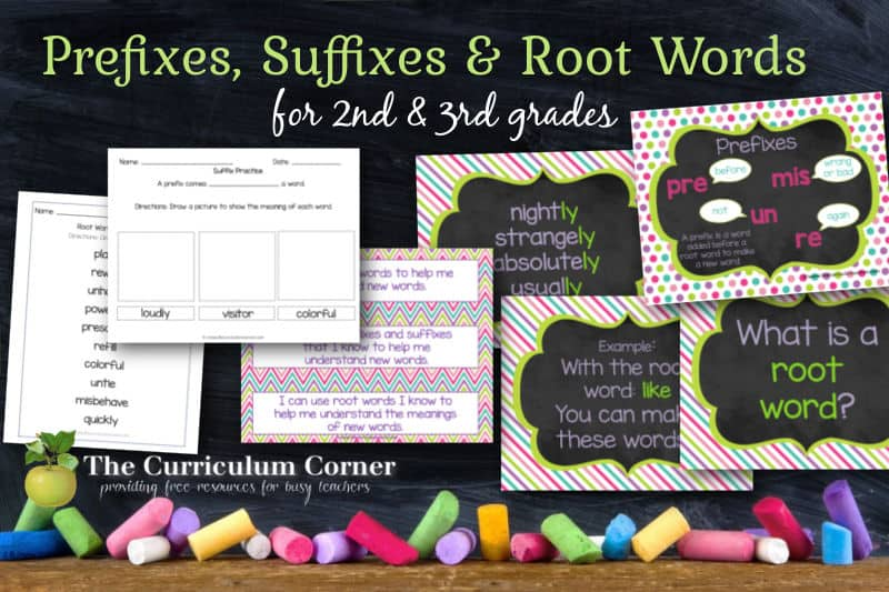 This collection for prefix practice, suffix practice and root word practice is designed to fit into your second or third grade classroom.