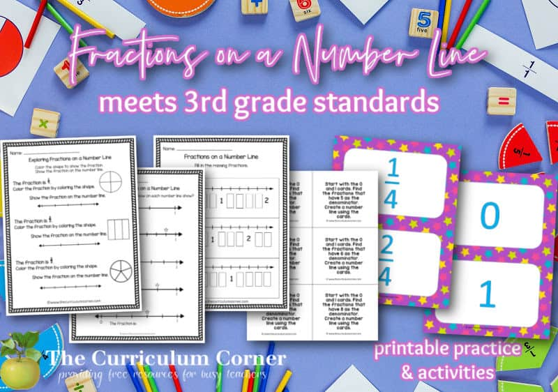 Practice fractions on a number line using these worksheets and activities for third grade math students.