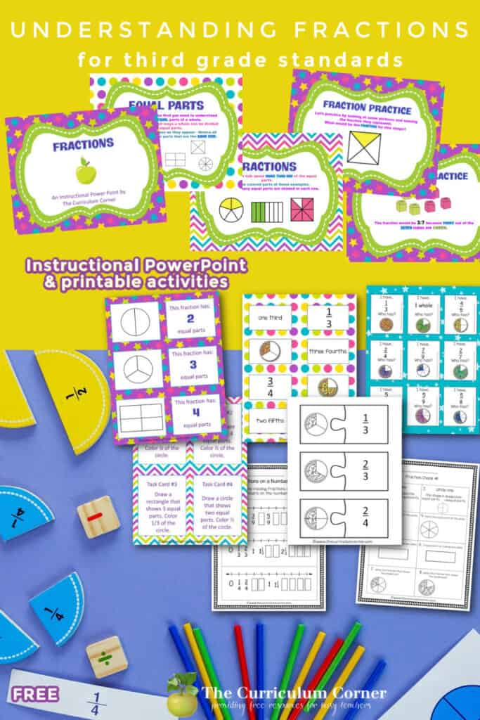 Work on understanding fractions and equal parts in third grade with these free digital and printable resources.