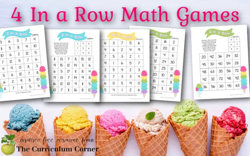 Download these printable 4 in a row math games to help your students practice addition and multiplication facts during math centers.