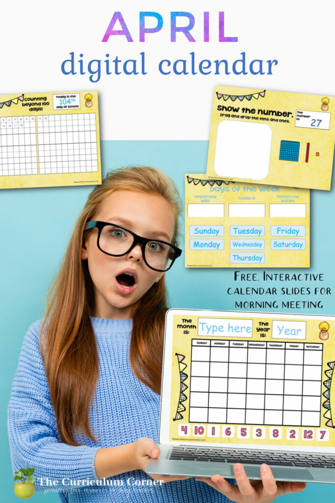 Download this free April digital calendar for your distance learning or in-person teaching this spring.