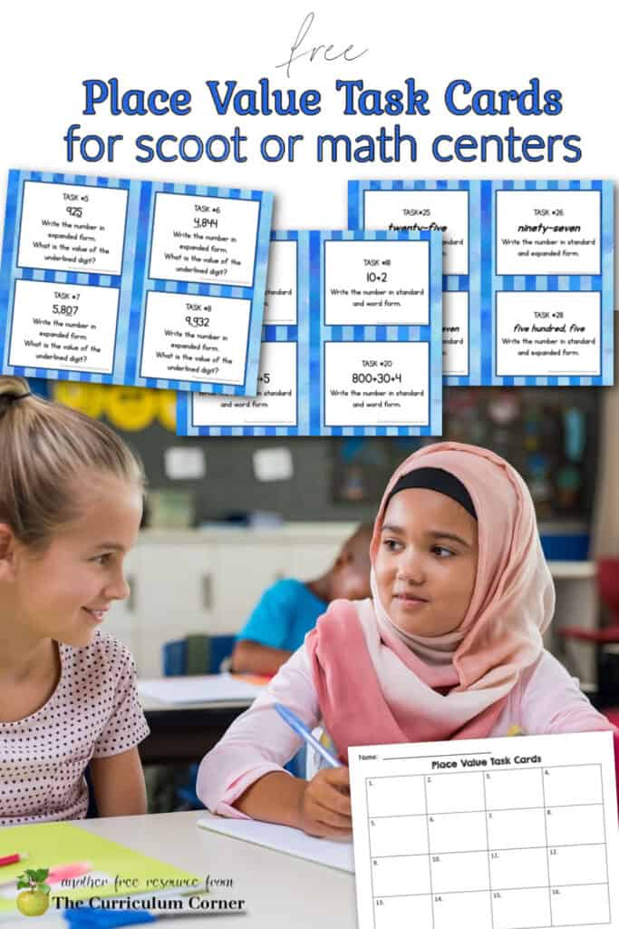 This set of free place value task cards is designed to give your students place value practice during math centers or to be used as a scoot game.