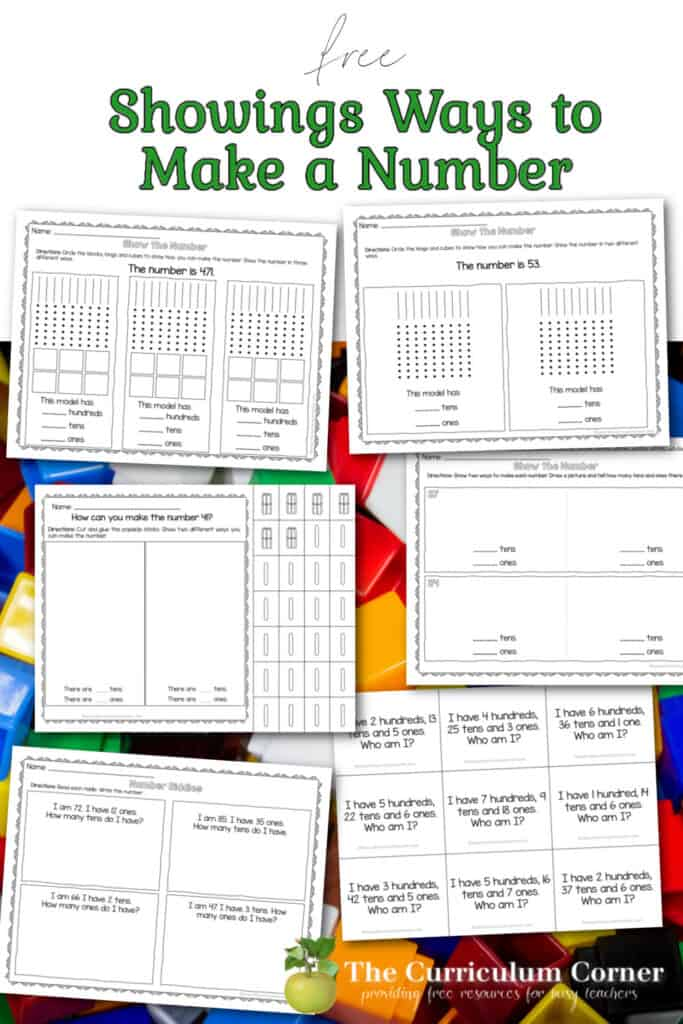 Build number sense with these showing ways to make a number activities for first and second graders. Free from The Curriculum Corner.