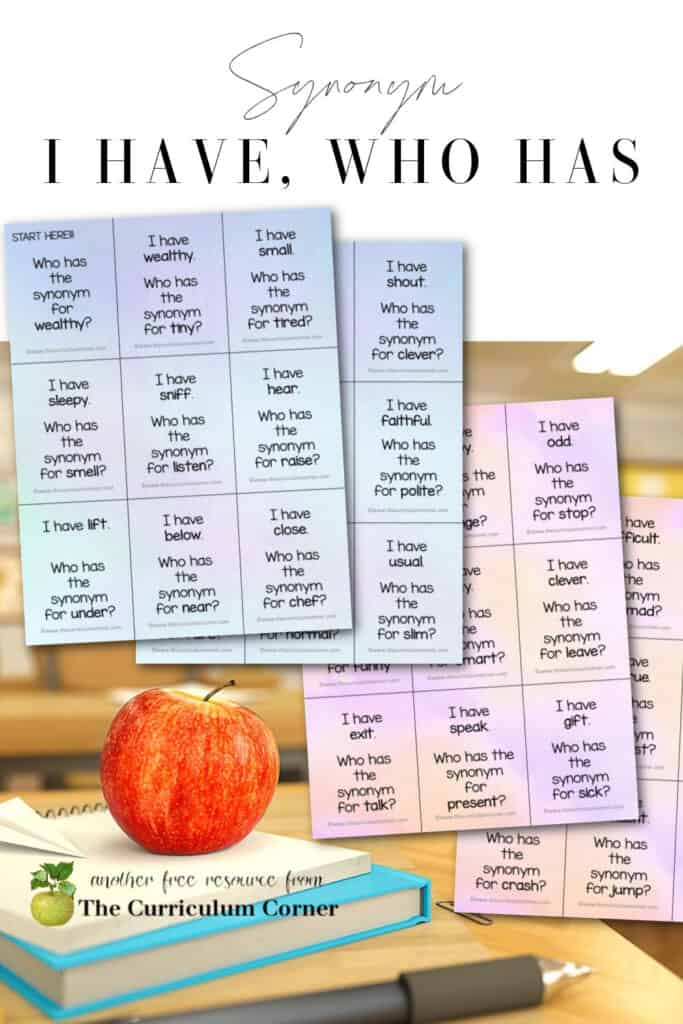 Download these free synonym I have who has games to help your children practice matching synonym pairs in the classroom.
