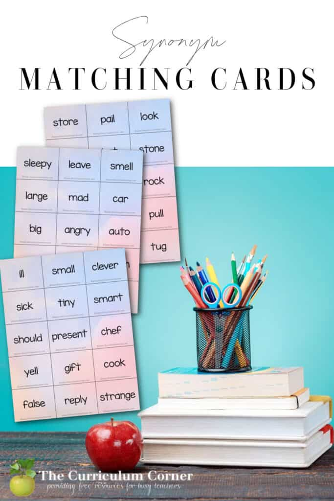Download these free synonym matching cards to help your children practice synonyms.
