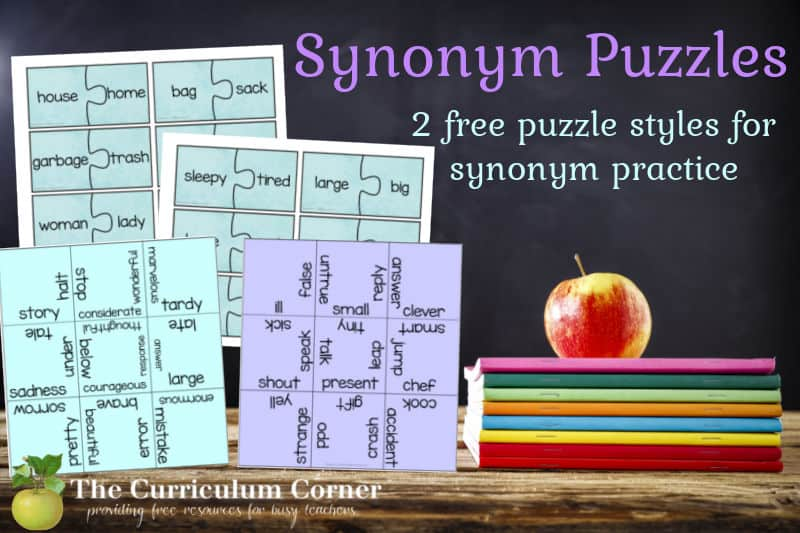 Download these free synonym puzzles to offer your students synonym practice during literacy centers. Another freebie from The Curriculum Corner.