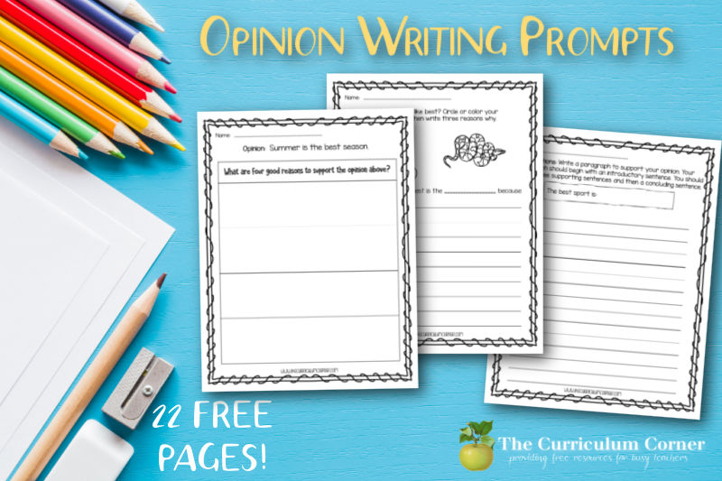Help your young writers with these 22 free opinion writing prompts for your first, second or third grade classroom.