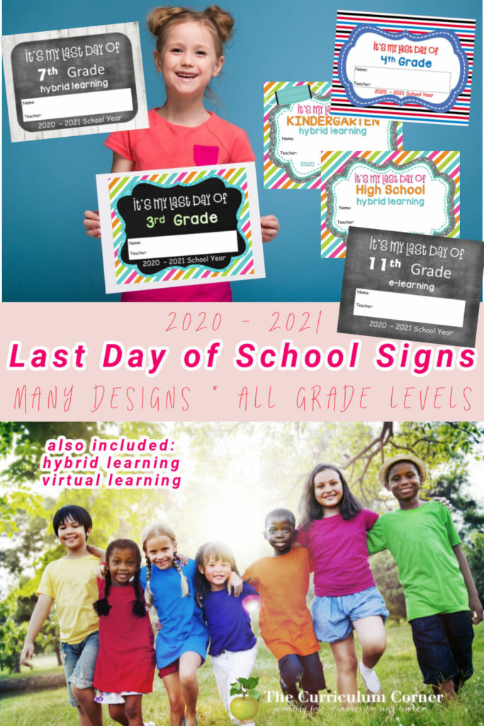Download this free set of last day of school signs for the 2020 - 2021 school year.