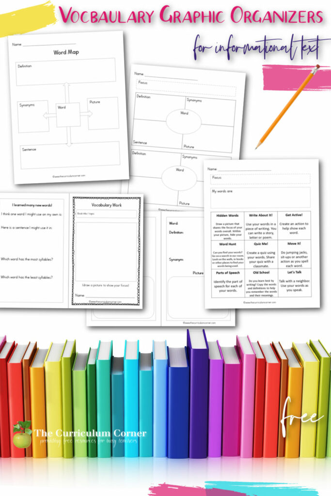 Download these free informational text vocabulary graphic organizers to help your students explore new words. A free collection from The Curriculum Corner.