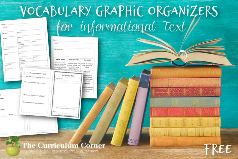 Free informational text vocabulary graphic organizers