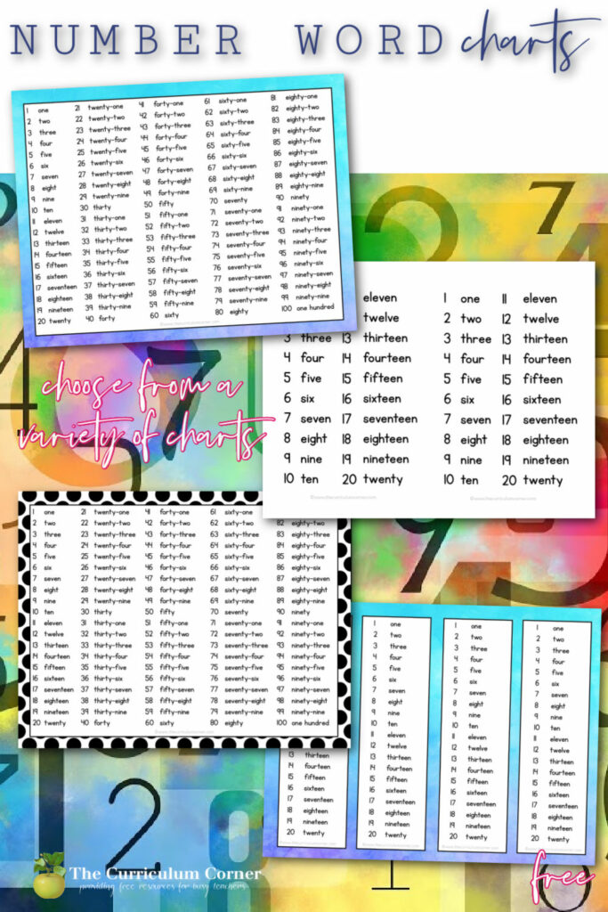 free number word charts