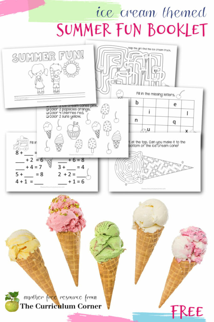 This ice cream themed summer activity book is a simple booklet you can print, staple and send home with other summer activities.