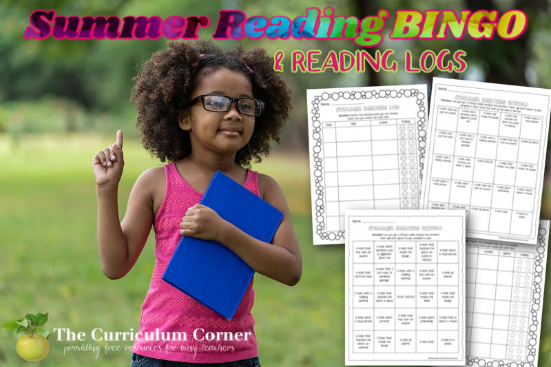 Download this free set of summer reading BINGO and summer reading log printables to keep your students reading over the summer.