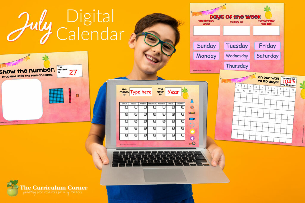 Free July Digital Calendar for in-person or distance learning