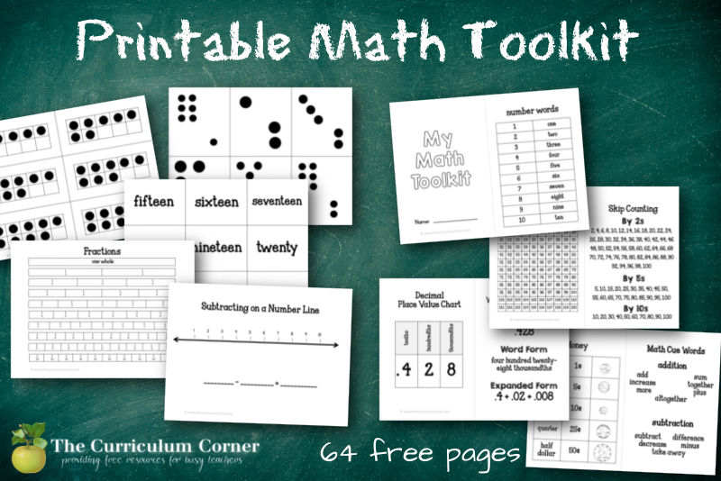 This free printable math tools collection will provide you with a PDF packed with math manipulatives for your elementary math workshop.