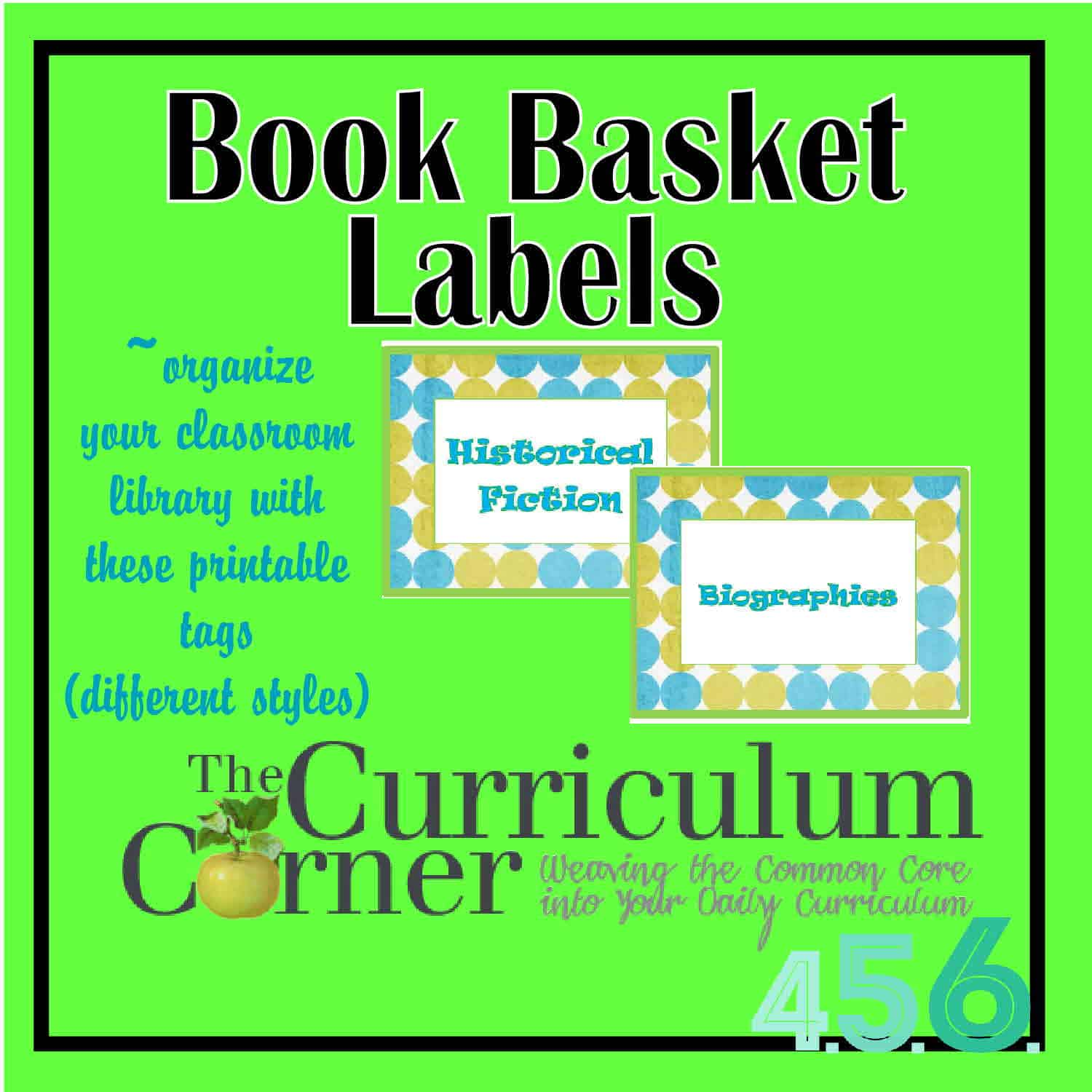 Basket Tags for your Classroom Library