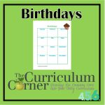 Birthday List for Student Planning Binder