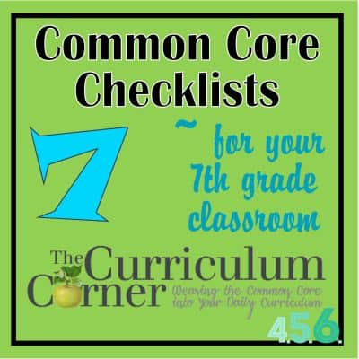 Seventh and Eighth Grade Common Core Checklists by The Curriculum Corner