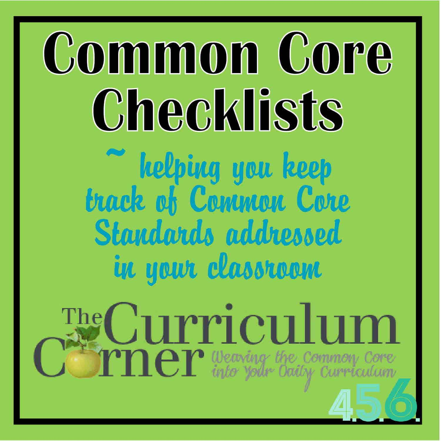 4th 5th and 6th Grade Common Core Checklists by The Curriculum Corner