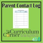 Parent Contact Log for Student Planning Binder