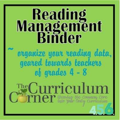 Reading Management Binder for Grades 4-5-6