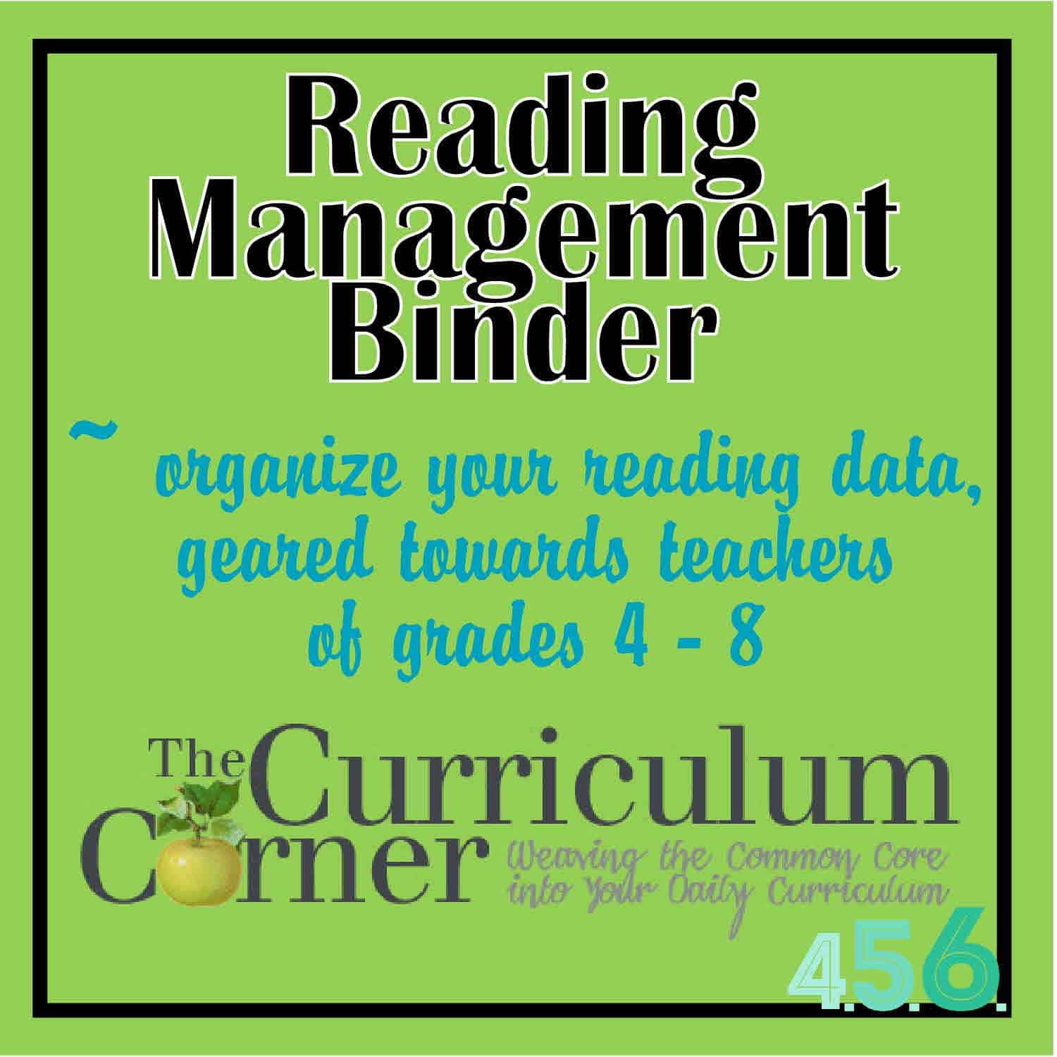 Reading Management Binder for Grades 4-5-6
