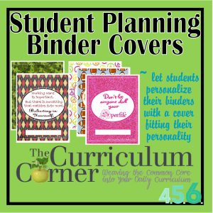 Student planning binder covers
